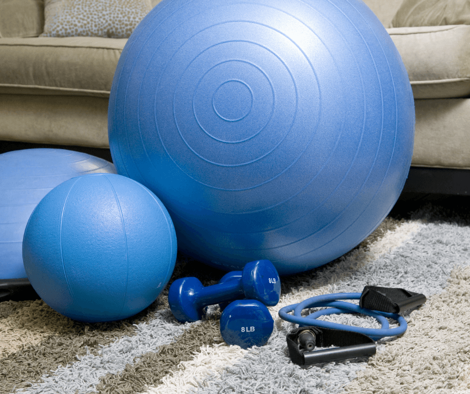 Exercise ball, dumbells and resistance bands for working out at home