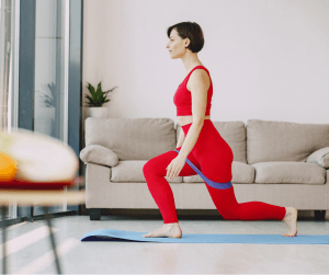 create a home workout space woman exercising
